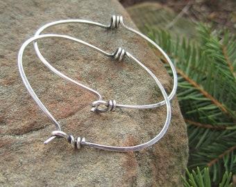 Industrial looking Spiral Hoop Earrings in Sterling Silver- 'StonePeace Hoops'