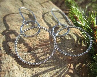 Sterling Silver Beaded Circle/Hoop Earrings