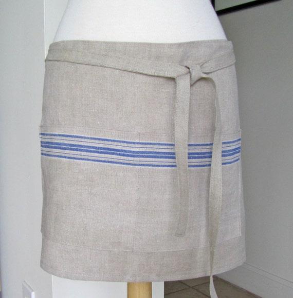 Half Apron European Linen  Natural Blue Stripe Mangle  Cloth Cook Chef Caterer Hostess Bar Utility