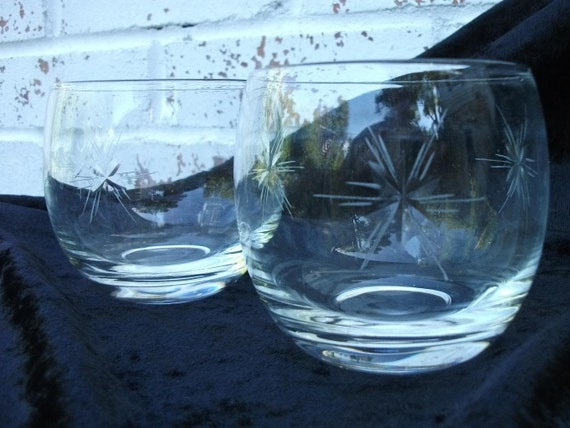 Set of (2) vintage cut glass - rocks, juice or stemless wine glass