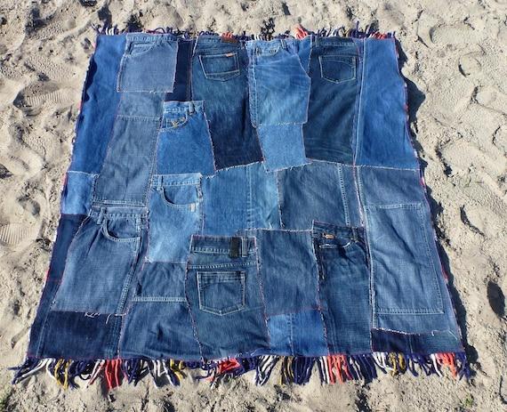 Patchwork Denim Quilt, Plaid Picnic Blanket with Fringe, Eco Friendly Bedding, Dorm Room Decor, Childrens Room - Denim, Red and Blue Plaid