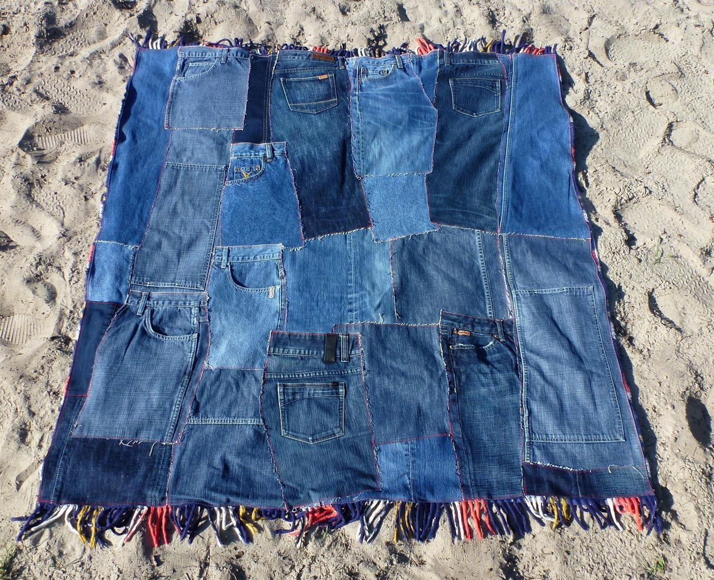 Patchwork Denim Quilt Plaid Picnic Blanket With Fringe Eco