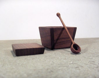 Salt cellar - walnut salt cellar with wooden spoon