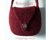 DOWNLOADABLE Felted Bag Pattern, Felted Purse Pattern, PDF Knitting Pattern - BEAUJOLAIS
