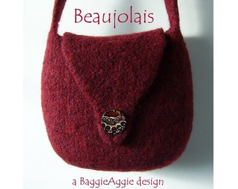 Felted Bag Pattern DOWNLOAD, Felted Purse Pattern, PDF Knitting Pattern - BEAUJOLAIS