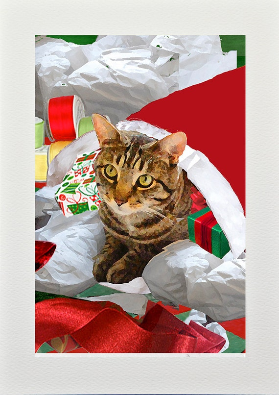 Christmas cards cat art handmade holiday tabby