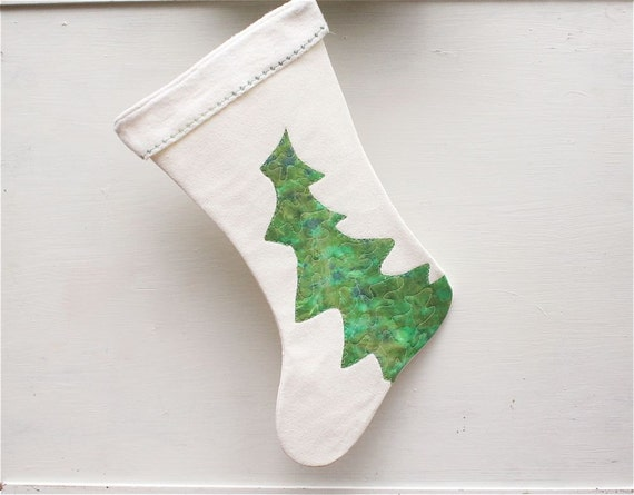 Quilted Christmas Stocking hand painted art green tree eco friendly cream hemp unique OOAK