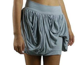 Women's Gray Pixie MINI draped skirt-Size Small