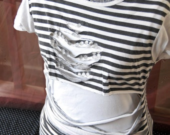 Punk'd Black'n'White stripe T-shirt