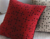 Eames Dot Mid Century Modern Throw Pillow Cover - Eames Red and Black Small Dot Pattern - shown for 18inch (46 cm) square insert