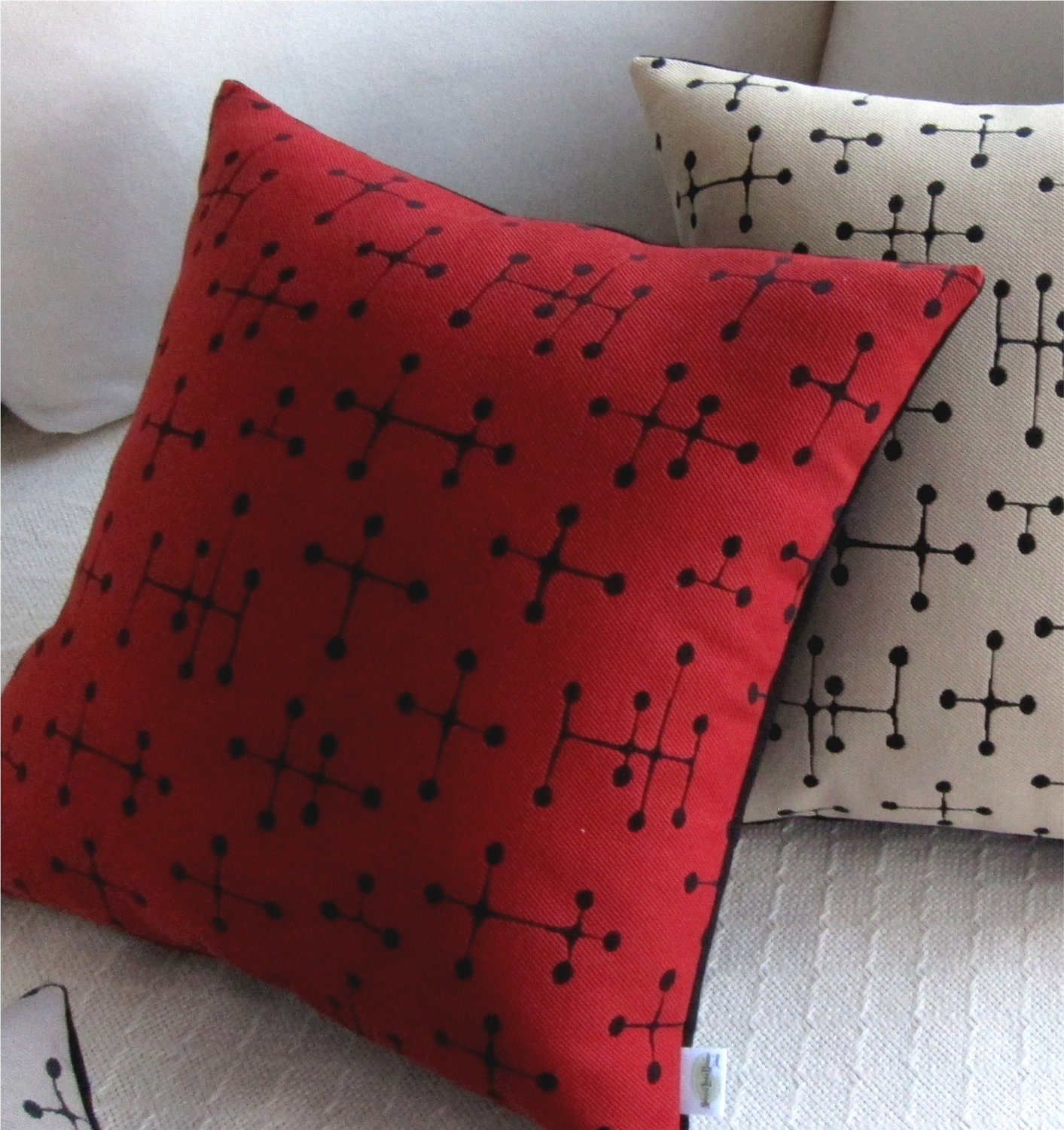 Modern Pillows Etsy : Eames Dot Mid Century Modern Throw Pillow Cover by atomiclivinhome