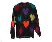 The 'Jodi' 80s Colorful Heart  Sweater
