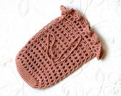 Spa Crochet Soap Saver Sack, Bag, Cotton Scrubbie, Drawstring Holder, Copper Mist Color, Zen Bath, For Men and Women