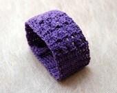 Crochet Lace Wrist Cuff Bracelet, Purple, New Modern Fashion Wristband, Vintage Buttons, Statement Jewelry, Handmade