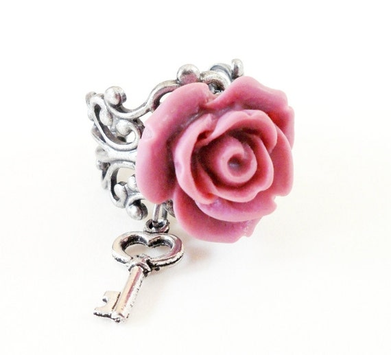 Pink Rose Skeleton Key Ring- Antique Silver- Adjustable Ring