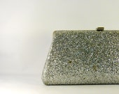 Vintage 1970s glitter silver clutch. silver glam chain evening hand bag