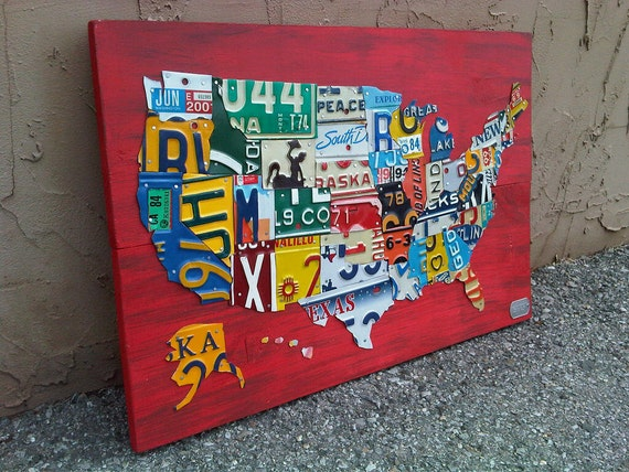 """License Plate Map of The United States Metal Artwork - 27"""" x 18"""""""