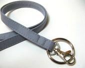 Medium Gray - grey - Skinny Lanyard ID Badge Holder - Key Strap