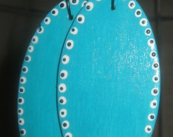 Handpainted Turquoise Ovals with Eyes of Protection Wooden Earrings