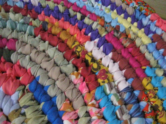 RESERVED for Tracey Cauley Colorful Crochet Hit and Miss Rag Rug