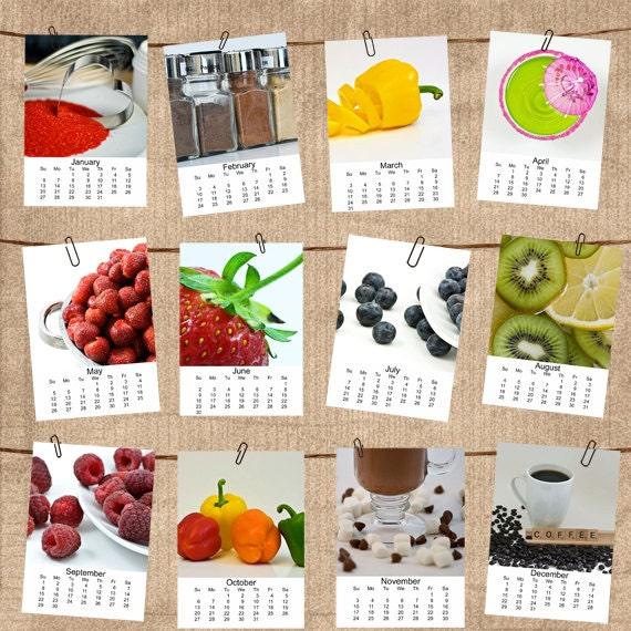 2013 Foodie 5x7 Mini Calendar Fine Art Photography Desk Calendar Sweet Peppers Fruit Starbucks Coffee