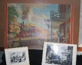 Vintage Frederic Sweney Colored Display Art Print w/ 8 Artist Picture Photo Rough Drafts