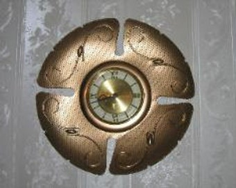 Vintage 1960's Welby Gold Tone Metal Art Wind Up Wall Clock