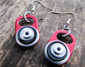 Red Ring Pull Tab Earrings with Recycled Black Rubber Inner Tube and Rivets, Valentines Gift for her