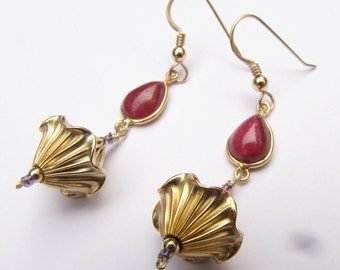 Gold Filled Earrings with Natural Tear Drop Ruby One of a kind Handmade by Lisajoy Sachs Design Elegant Royal Wedding Fantasy Unique Unusual