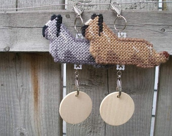Skye Terrier crate tag or hang anywhere hand stitched art by dog artist, Your choice of color, Magnet option