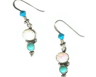 Lab created opal and turquoise sterling silver earrings lightweight