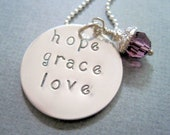 Hope grace love necklace-custom statement jewelry-sterling silver-hand stamped-inspirational charm-engraved-gift for women girls- pendant