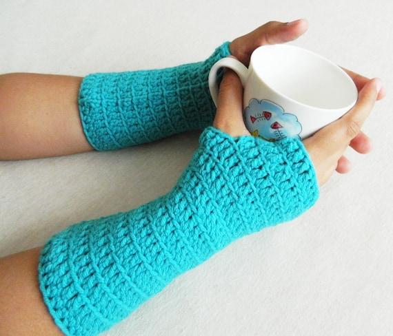 Sale Crochet Wrist Warmer - Fingerless Gloves - Mittens Arm Warmers - Teal