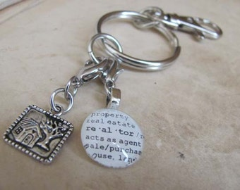 Realtor Key Chain with Silver-tone House Charm by Kristin Victoria Designs
