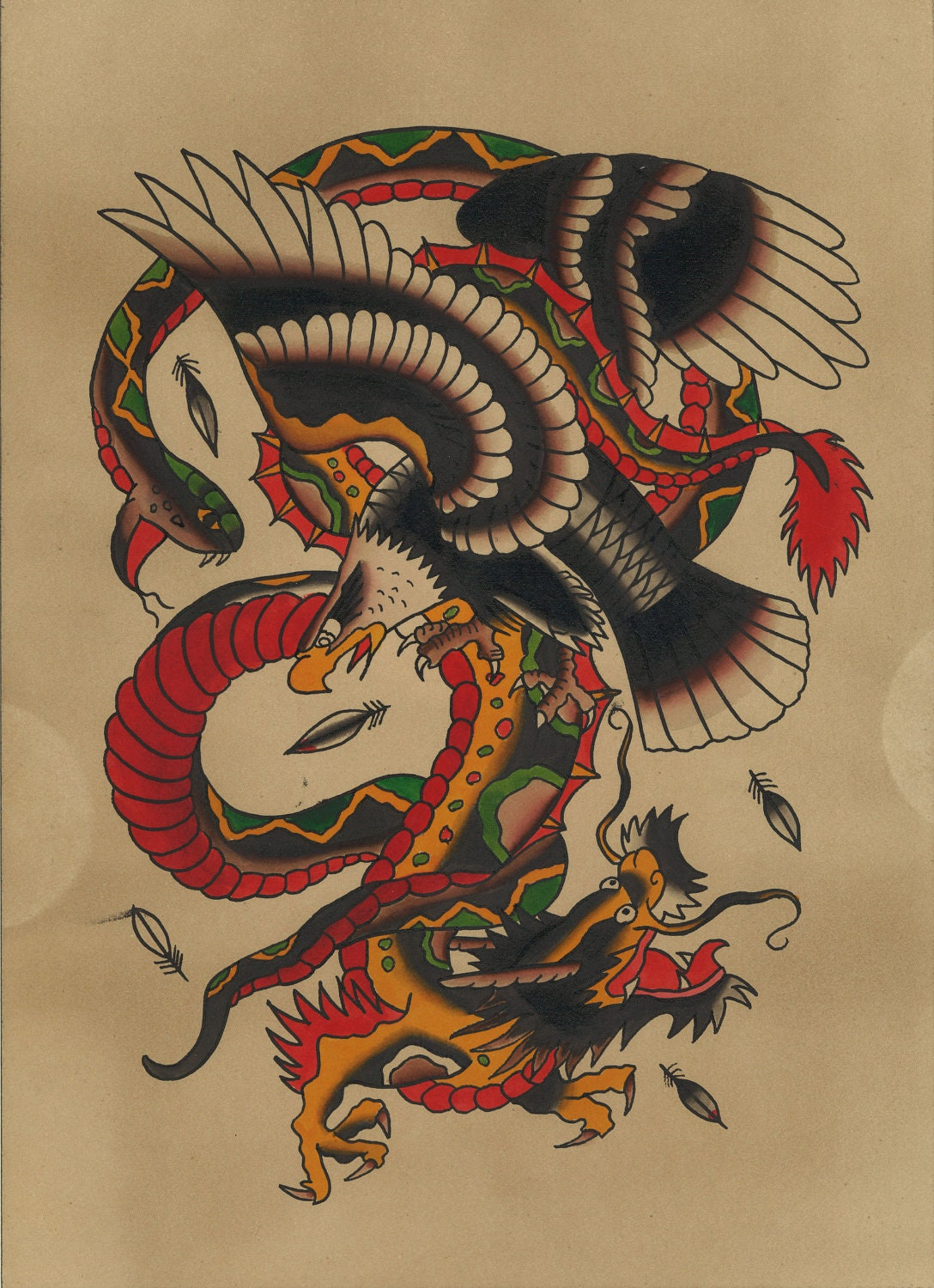 Traditional Snake Eagle & Dragon Tattoo Flash by 111byPatience