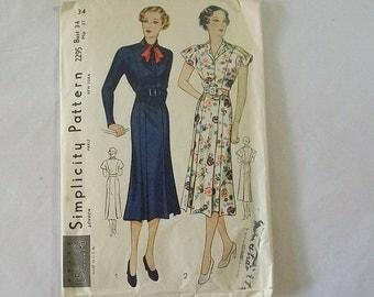 Original 1930s Shirtwaist Frock Dress Pattern Simplicity 2295