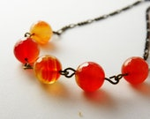 Natural Carnelian Necklace / Orange /  Stone /  Vintaj Brass / Tangerine