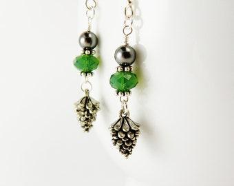 Pine Cone Green Crystal Earrings  / Pinecone  /   Christmas  / Swarovski