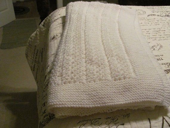 Afghan, Beautiful white afghan, so pretty for a new baby, christening or laying at the foot of your bed.