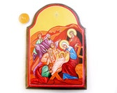 The Nativity, Birth of Jesus Christ Icon, Christmas, Incarnation of Christ - 12 X 8 inches handpainted orthodox icon