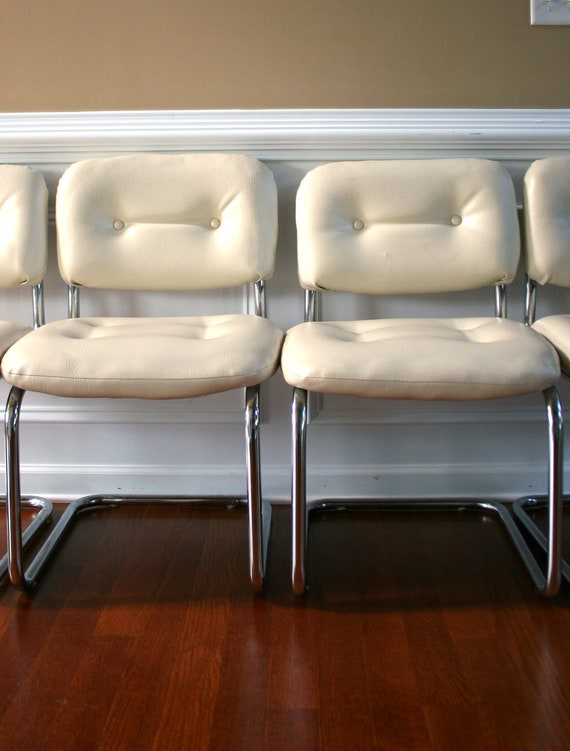 Pair vintage white leather chairs chrome chairs dining for White leather and chrome dining chairs