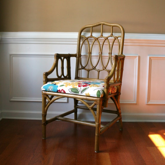 Etsy Vintage Bamboo Furniture: RESERVED For ELLEN. Rattan Cane Chair. Chinoiserie. Floral
