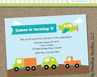 Custom Transportation Birthday Green and Aqua Blue - Personalized Printable Digital Invitation - Personal Use Only