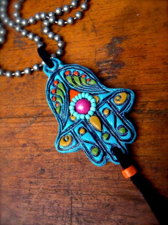 fatima hand HAMSA NECKLACE gypsy protective jewelry spiritual necklace statement necklace hippie bohemian hand made unique made to order