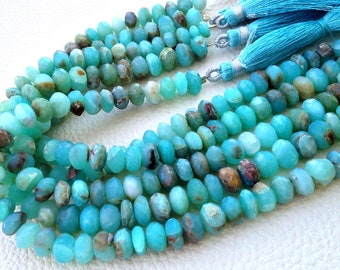 10-11mm,Brand New, 8 Inch Strands,Brand New, Peruvian Blue Opal Faceted Rondelles Beads,Amazing Item at Low Price