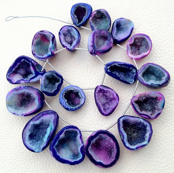 1/2 Strand, Amazing Rare BIO-COLOR Druzy Caves Briolettes, AAA Quality,Both Size Polished, 20-30mm Size,Great Item