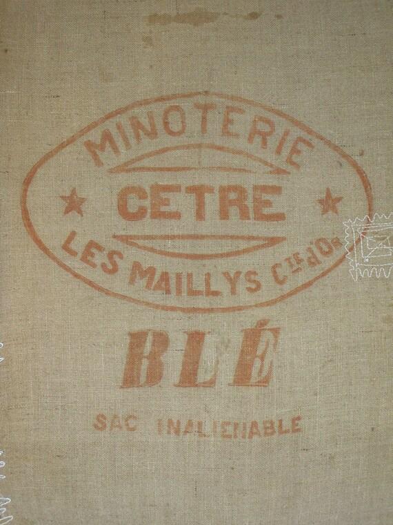 Burlap GRAIN Sack Flour Bag 2 Printed PANELS FRENCH rustic and authentic