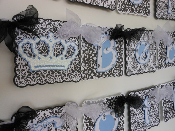 Baby shower black and white damask bridal boy shower banner by a sweet