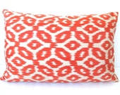 Turkish Ikat Throw Handwoven IKAT SILK Pillow Cover 14x22 inch Ikat Throw Authentic Ikat Pillowcase Decorative Throw Orange Creme