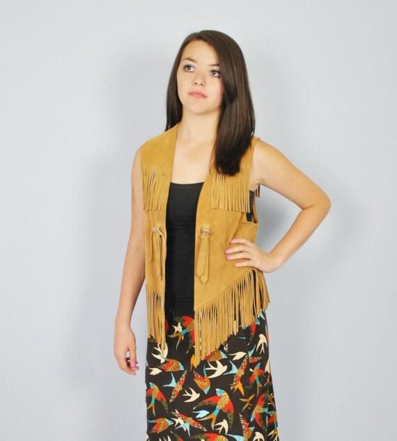 Vintage 1970's Light Brown Leather Fringed Vest / West Winds